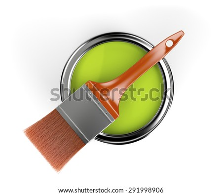 Orange paintbrush and paint can with green color, top view  - stock photo