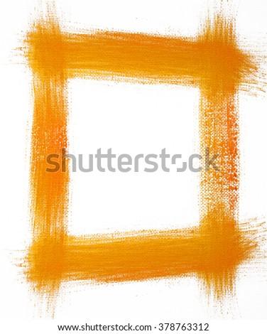 Orange painted frame on white background - stock photo