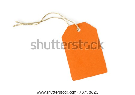 orange paper label isolated on white