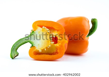 orange paprika (pepper) isolated on a white background / yellow fresh pepper perfect seamless clipping studio objects / new peppers / food for kitchen