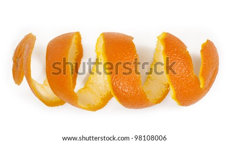 orange peel isolated on white background - stock photo