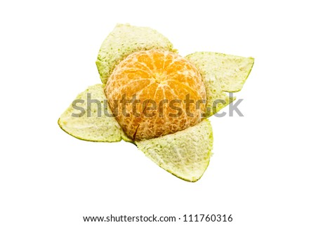 Orange peel on white background