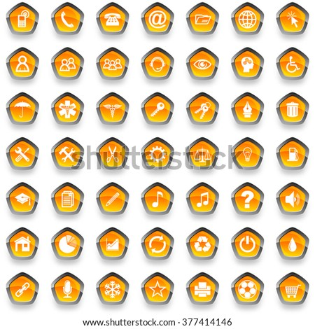 orange pentagon glossy web icons set - stock photo