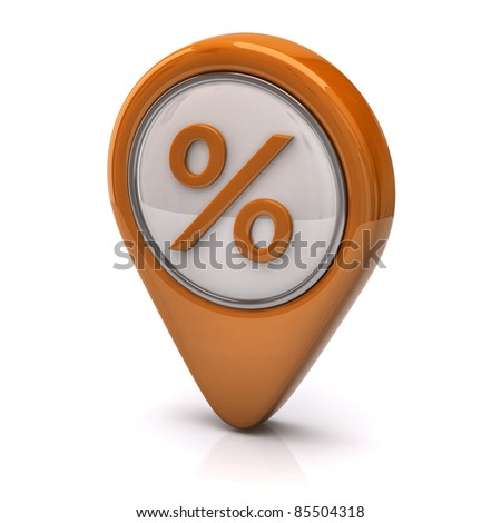 Orange percentage icon - stock photo