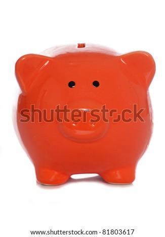 orange piggybank isolated on white background - stock photo