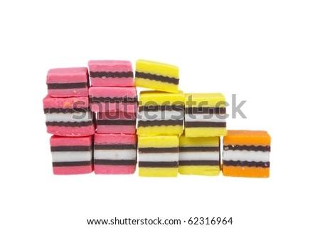 orange pink and yellow licorice over white - stock photo