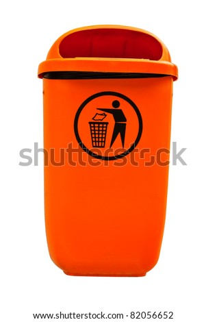 Orange plastic dust bin isolated over white background. - stock photo