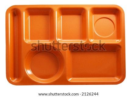 orange plastic school lunch tray on white background - stock photo