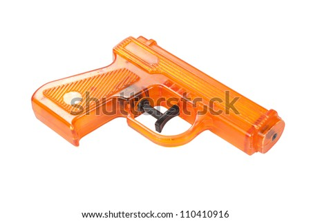 Orange plastic water pistol isolated on a white background - stock photo
