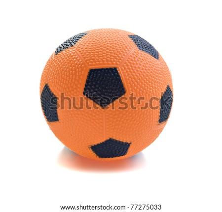 Orange play ball isolated on white - stock photo