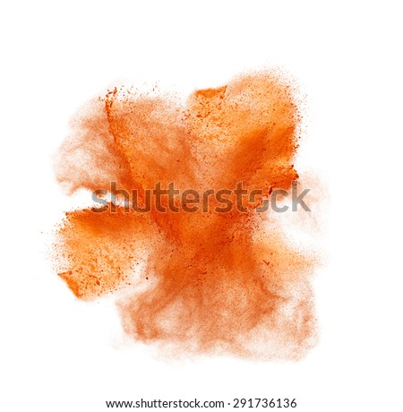 Orange powder isolated on white background. Top view  - stock photo