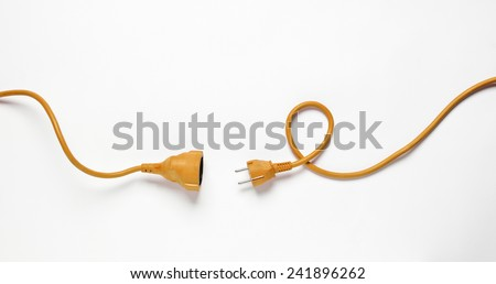 Orange Power Cable isolated on white background - stock photo