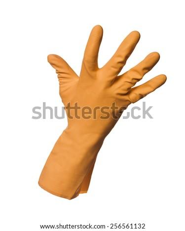 Orange protection glove isolated on white background - stock photo