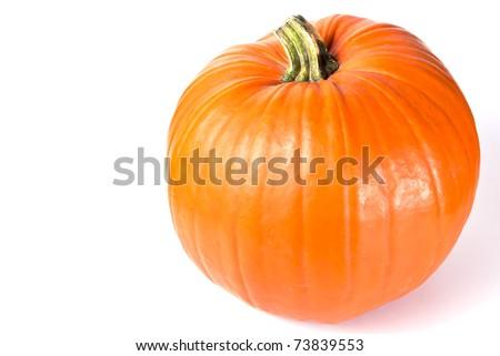 orange pumpkin isolated on white - stock photo