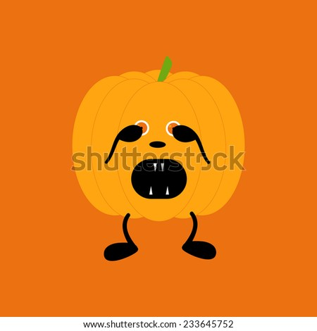 Orange pumpkin on two black legs with eyes full of fear partly closed by its hands, black nose crying with its mouth full of sharp teeth isolated on bright orange background. Halloween decor element - stock photo