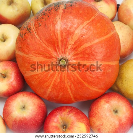 orange pumpkin with apples, background - stock photo