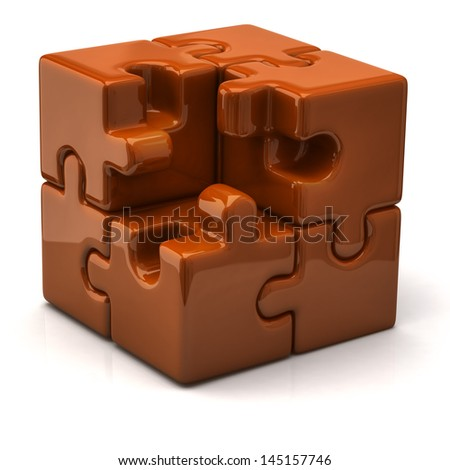 Orange puzzle cube without one piece - stock photo
