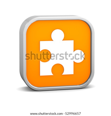 Orange puzzle sign on a white background. Part of a series. - stock photo