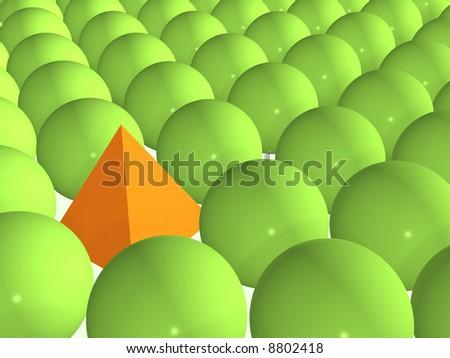 Orange pyramid among green spheres - stock photo