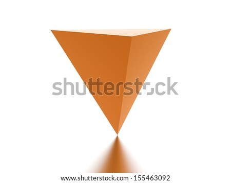 Orange reflection pyramid rendered on white background - stock photo