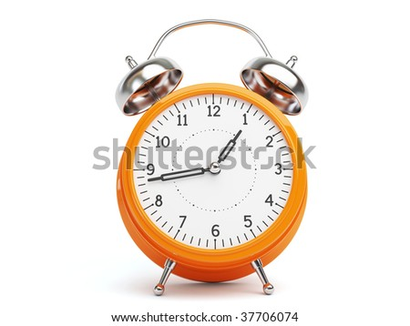 Orange Retro Clock isolated on white Background - stock photo
