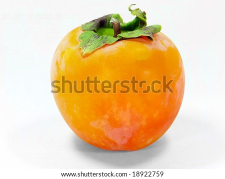 Orange ripe persimmon isolated over white background - stock photo