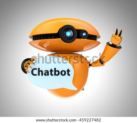 "Orange robot holding chat bubble with ""Chatbot"" text in it. 3D rendering image with clipping path."