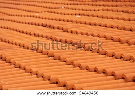 Orange roof tiles - stock photo