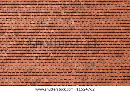 orange roof tiles close up detail - stock photo