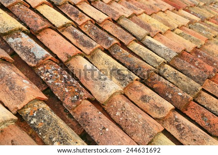 Orange roof tiles from an old building in Dubrovnik, Croatia - stock photo