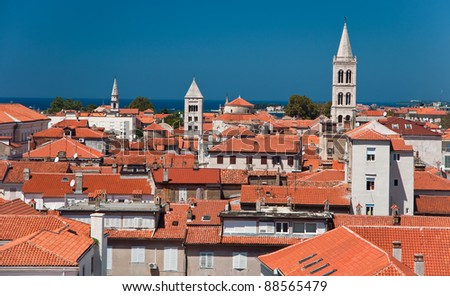 orange rooftops of old town of Zadar, Croatia. - stock photo