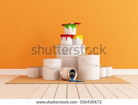 orange room freshly painted with a brush and paint cans - rendering - stock photo