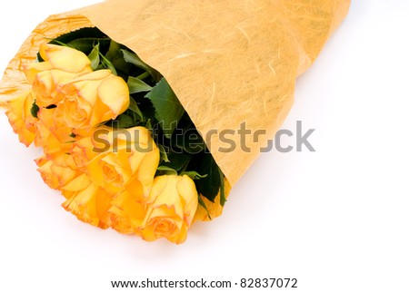 Orange rose bouquet and wrapping paper
