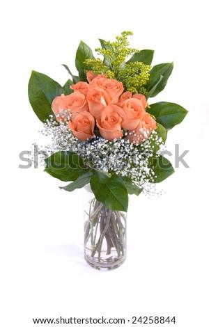 Orange Roses in a Vase - isolated against white background - stock photo