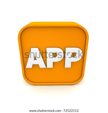 orange RSS like APP symbol rendered in 3D isolated on white ground - front view - stock photo