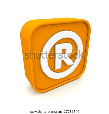 orange RSS like Registered Trademark symbol rendered in 3D isolated on white ground - angular view - stock photo