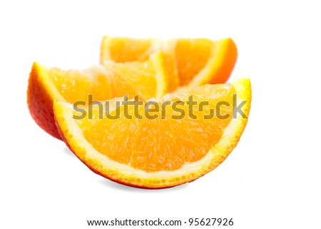 orange's parts isolated on white, prepared for juice - stock photo