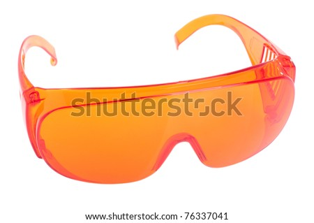 orange safety glasses for patient/other (health equipment to prevent cross infection) isolated on white - stock photo