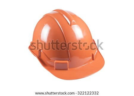 Orange safety helmet hard hat, tool protect worker of danger in construction industry, isolated on white background with clipping path. - stock photo