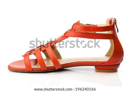 Orange sandal isolated on white background. - stock photo