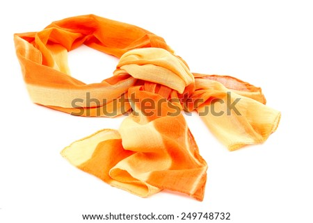 Orange scarf or shawl, isolated on white background. - stock photo