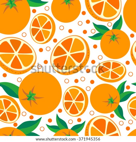 Orange. Seamless background with oranges on white background. Vegetarian. Elements for your design.Textile and wallpaper background. Series of food and drink and ingredients for cooking. - stock photo
