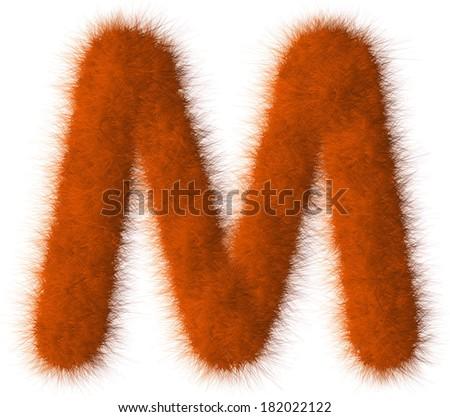 Orange shag M letter isolated on white background - stock photo