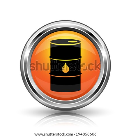 Orange shiny glossy icon on white background