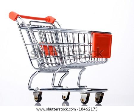 orange shopping cart - stock photo