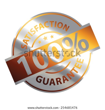 Orange Silver Metallic 100% Satisfaction Guarantee Icon, Label or Sticker Isolated on White Background  - stock photo