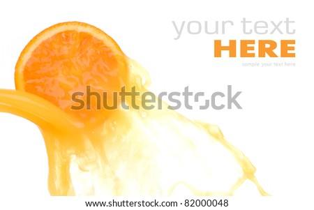Orange slice and juice splash isolated on white backgound - stock photo