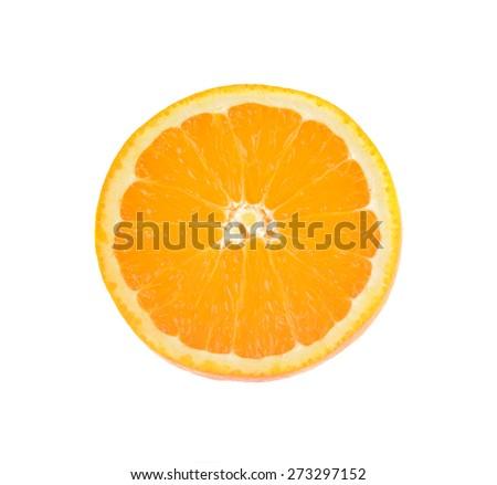 Orange slice isolated on white - stock photo