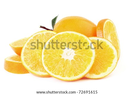 Orange. Sliced orange fruit isolated on white
