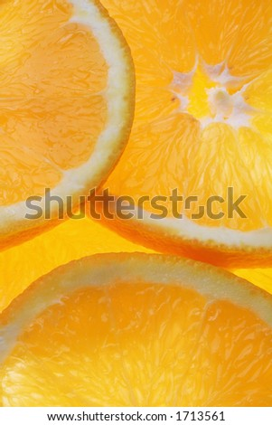 Orange slices close up